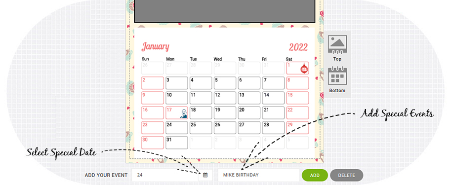Personalize your photo calendar with special dates