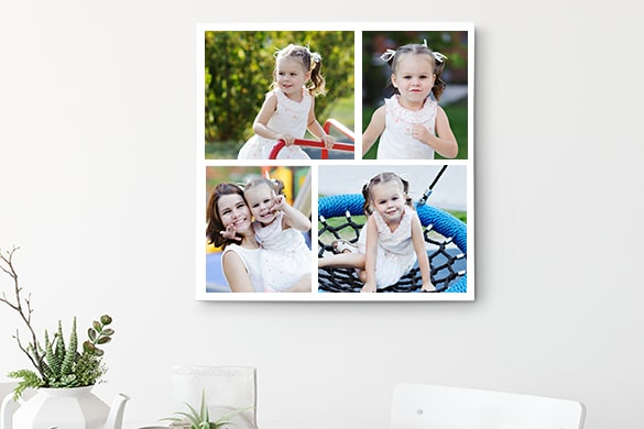 Overview of canvas photo collage