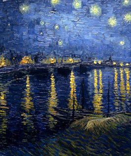 Starry Night Over the Rhone Stretched Canvas Art By Van Gogh